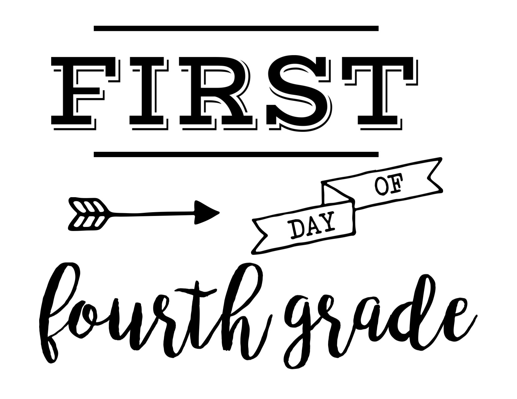 Worksheet Fourth Grade first day of school sign free printable paper trail design print the fourth grade here