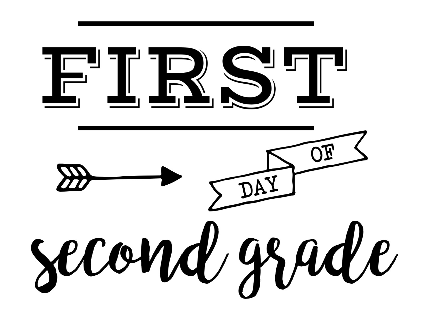 graphic about First Day of Second Grade Printable Sign titled Initial Working day of Faculty Signal Free of charge Printable - Paper Path Layout