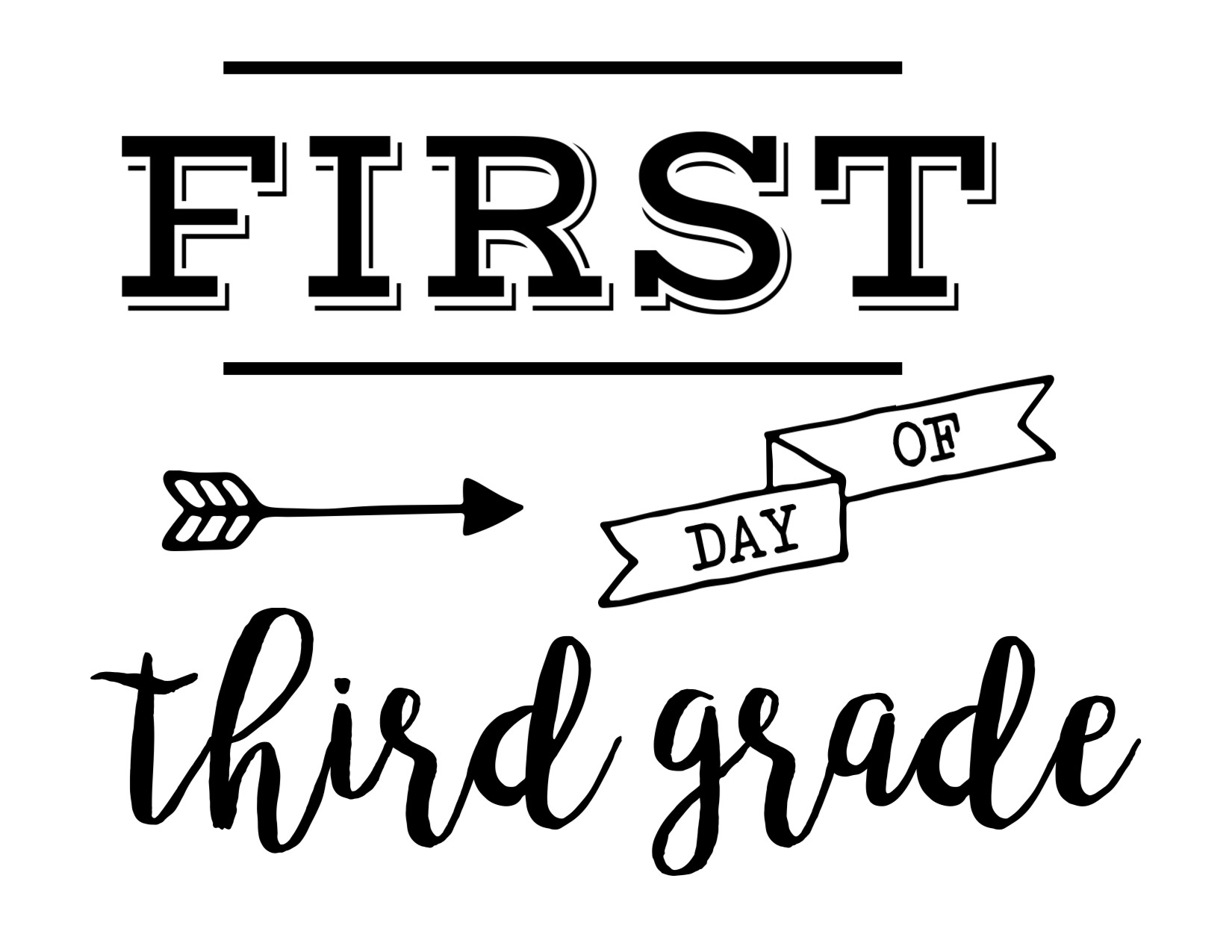 image about First Day of 3rd Grade Sign Printable identify Initial Working day of Higher education Signal Cost-free Printable - Paper Path Style