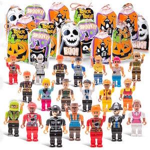 Just like lego mini figures Halloween treat bags with a mini figure in it.