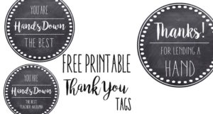 Thank You & Teacher Appreciation Tags Free Printable card. Attach to hand soap, hand lotion, a pedicure gift certificate, hand sanitizer, nail polish, or a fancy bar of soap.