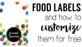 Colorful Food Labels Free Printable. Customize these food labels free and easily with online software and our tutorial. Rainbow colored food tags or name cards.