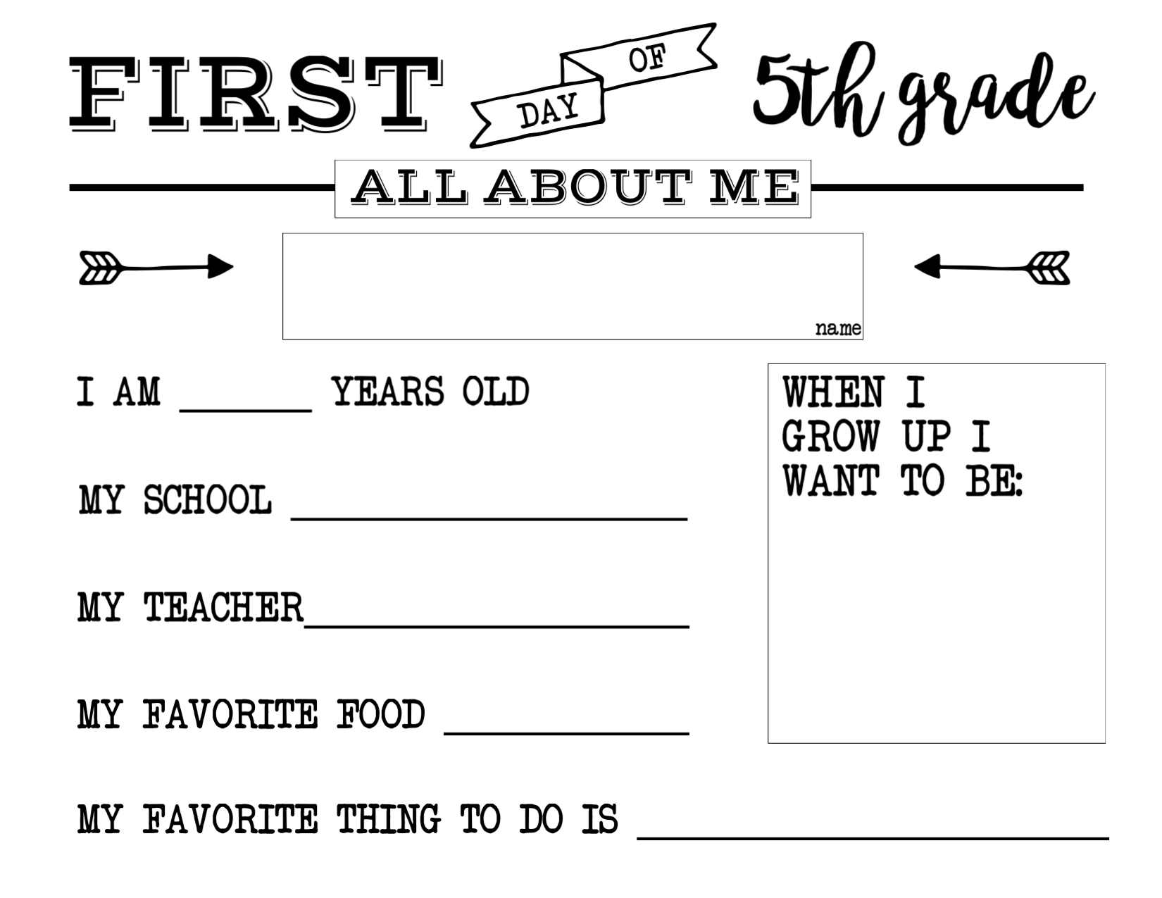 School Worksheets 5th Grade : First day of school all about me sign paper trail design