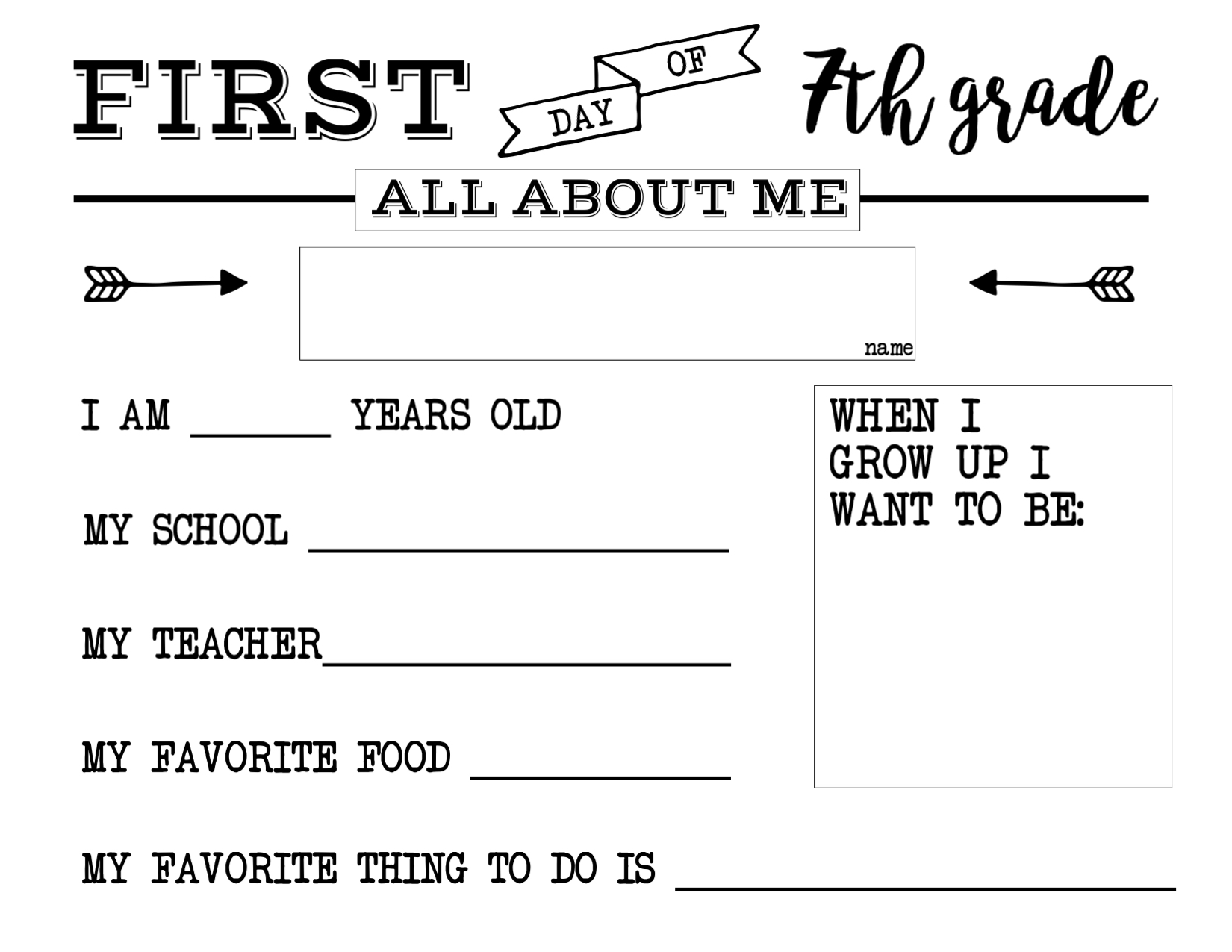 first day of school all about me sign  paper trail design print the  all about me th grade sign  here
