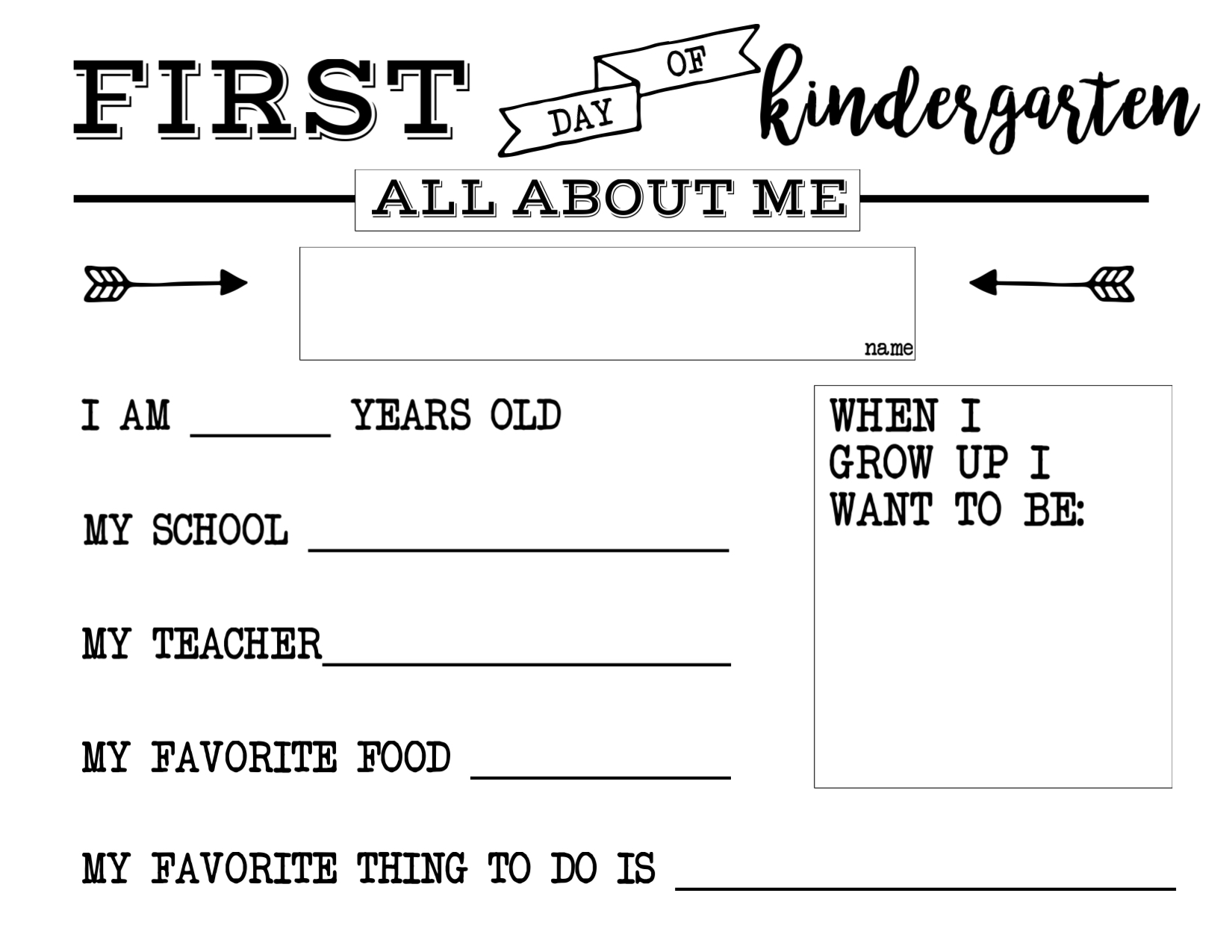 First Day Of School All About Me Sign Paper Trail Design