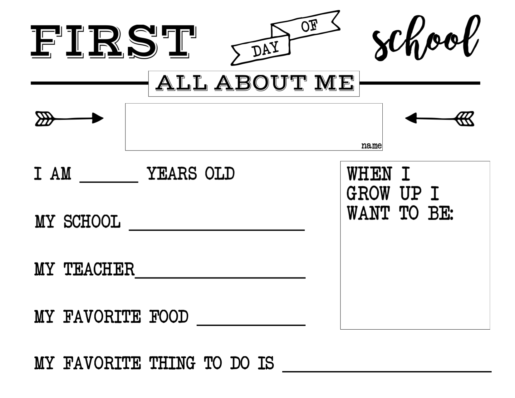photograph regarding First Day of School Printable titled To start with Working day of College or university All With regards to Me Signal - Paper Path Style and design