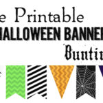 Halloween Banner Bunting Free Printable. Print this Halloween to add to your spooky Halloween decor. Spiderwebs, witches, and skeletons.