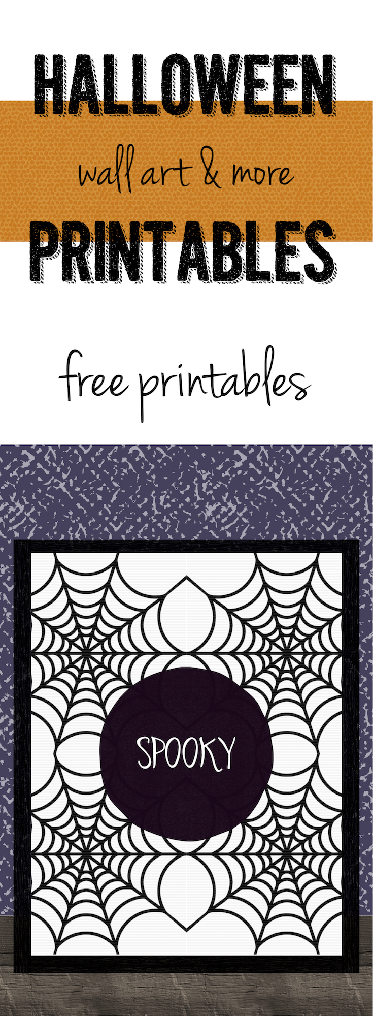 Spooky Halloween Spider Web Free Printable. Decorate your house for Halloween with this free wall art. Just print and frame. Easy decor!