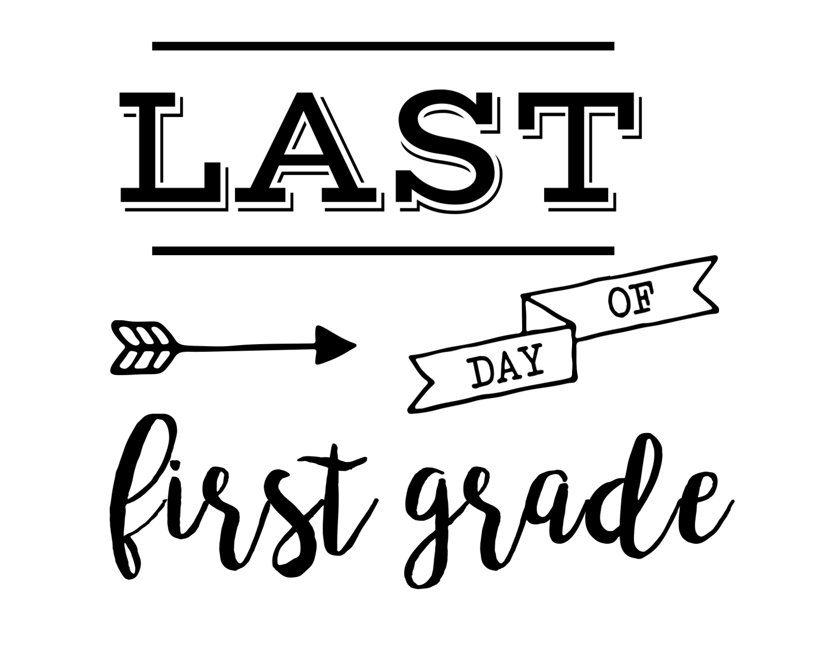 photograph relating to First Day of 1st Grade Printable identified as Previous Working day of College or university Signal Absolutely free Printable - Paper Path Design and style