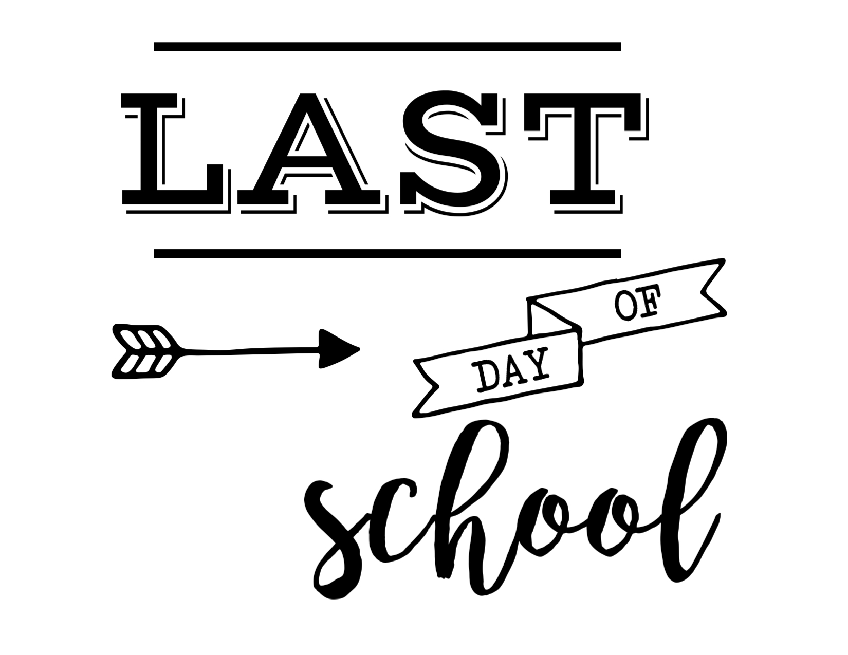 Lively image within last day of school signs printable