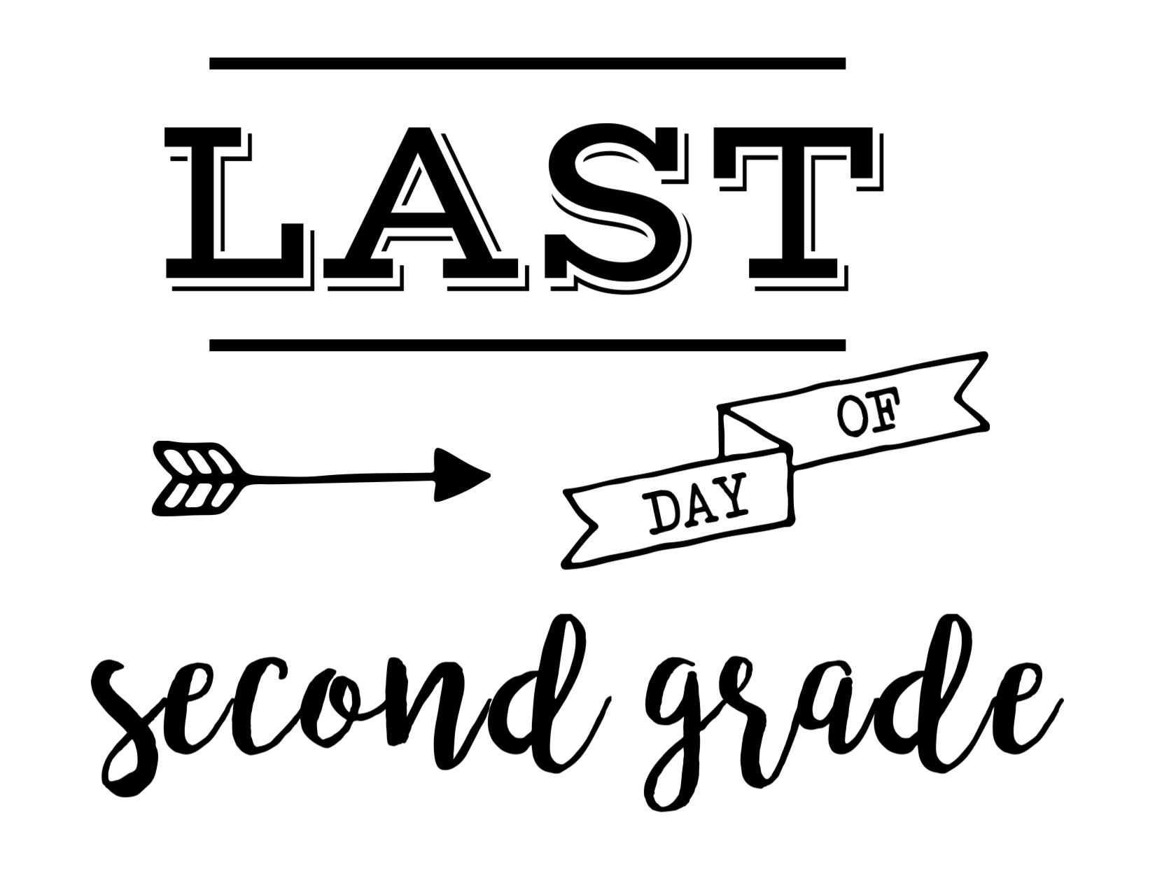 photograph regarding Last Day of 2nd Grade Printable called Very last Working day of College or university Indicator Cost-free Printable - Paper Path Structure