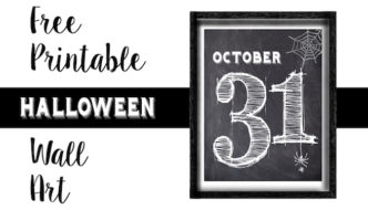 Halloween October 31 Wall Art Free Printable