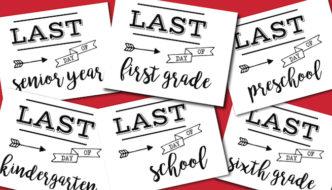Last Day of School Sign Free Printable poster. Preschool, Kindergarten, First Grade, through Senior year. Print this sign for last day of school pictures.