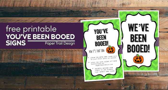 Matching we've been booed and you've been booed signs with text overlay- free printable you've been booed signs