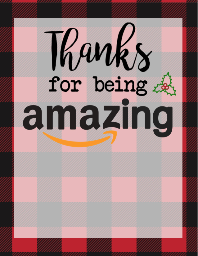 thanks for being amazing christmas free printable - Amazon Christmas Gift