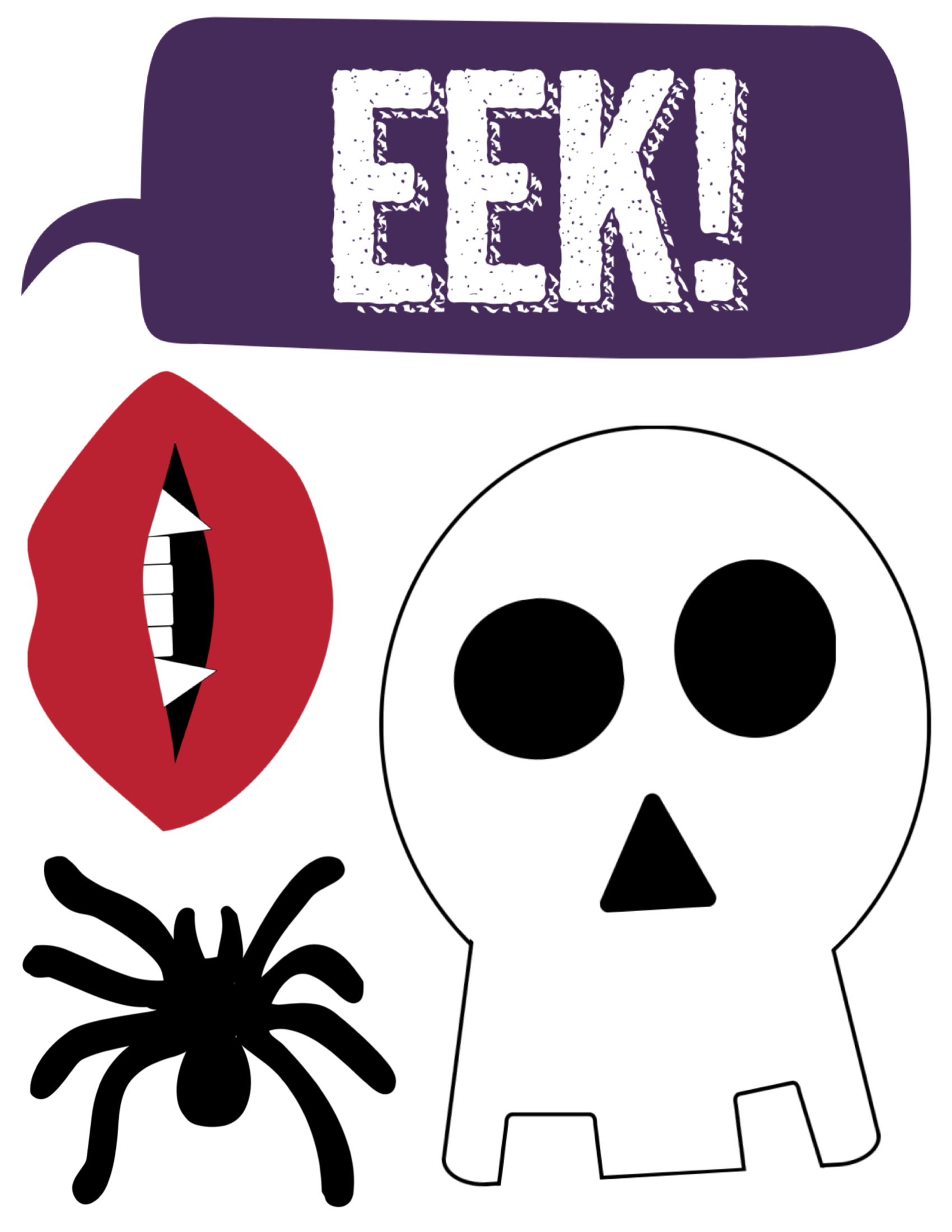This is a graphic of Shocking Halloween Photo Booth Props Printable Free