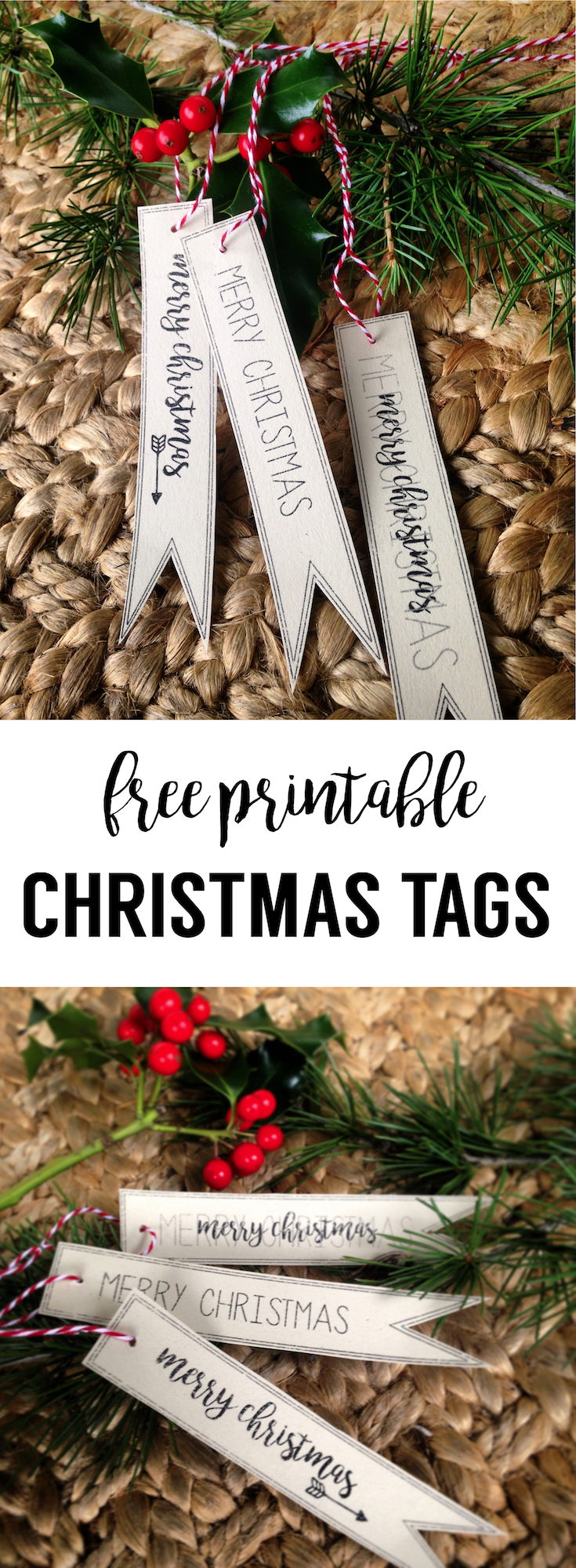 Merry Christmas Tag Free Printable. Attach these gift tags to gifts and packages for your friends and family this Christmas season.