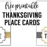 """Free printable Thanksgiving place cards. These """"thankful for"""" gold and grey colored place cards are a fun easy DIY for your Thanksgiving dinner table. Included is instructions on how to personalize them digitally using picmonkey."""