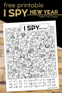I spy New Year activity page for kids with text overlay- free printable I spy New Year
