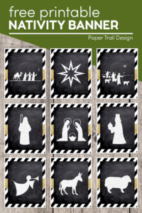 Nativity Christmas banner silhouette images with text overlay- free printable Nativity banner