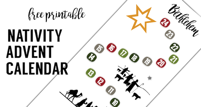Free Advent Calendar Printable. This DIY Nativity Advent calendar is so easy! Just print this easy advent calendar nativity and let Mary and Joseph make their way to Bethlehem.