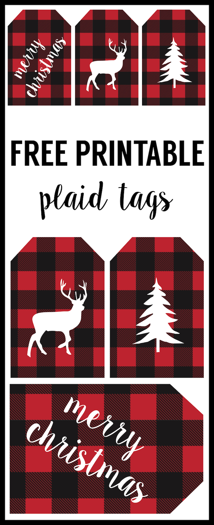 Rustic Christmas Tags Free Printable. Buffalo plaid Christmas tags to print for free. Add these free printable rustic tags to make your gift wrap look super cute!