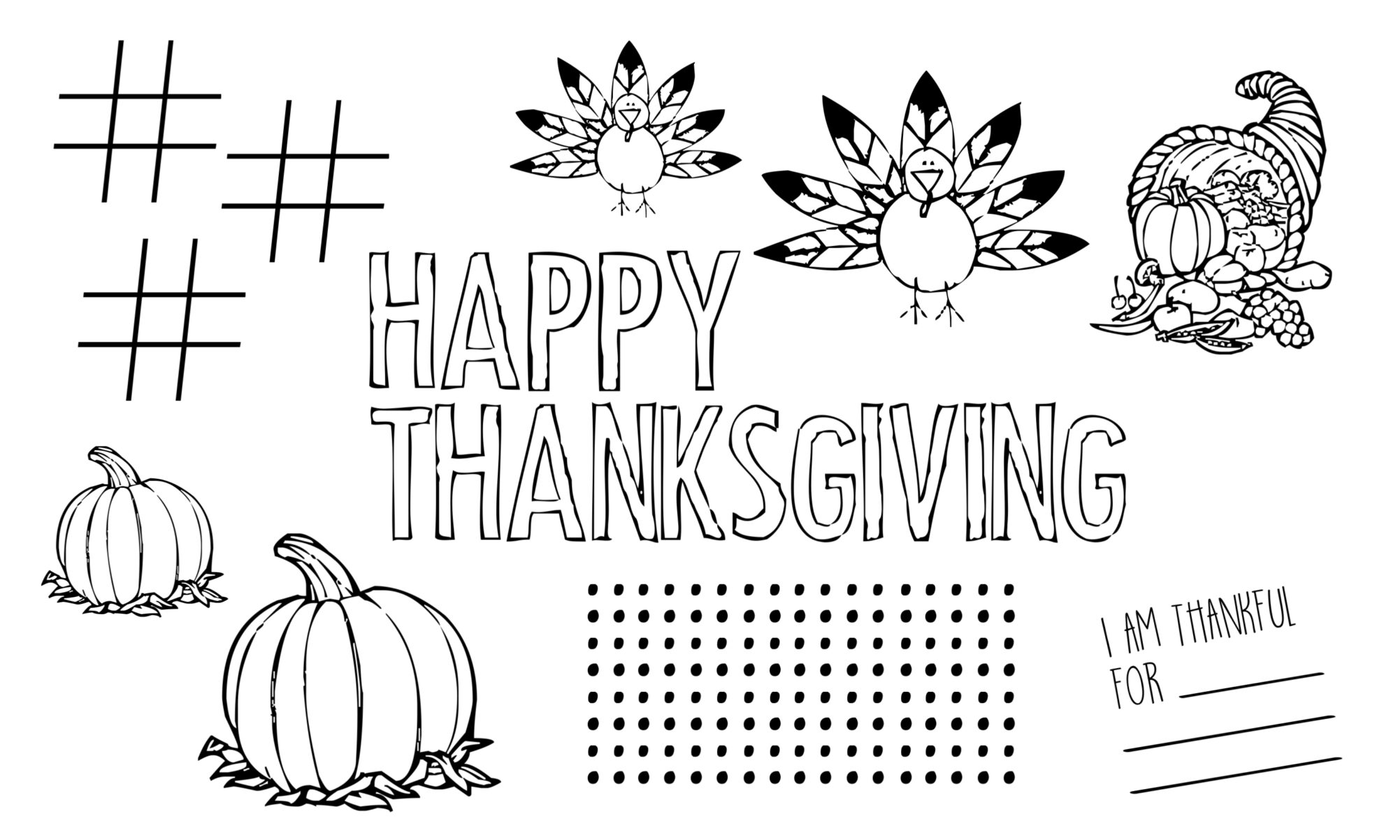 Letter Kids Thanksgiving Placemat Free Printable
