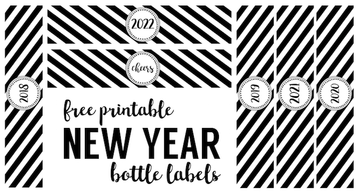 new year bottle labels free printable