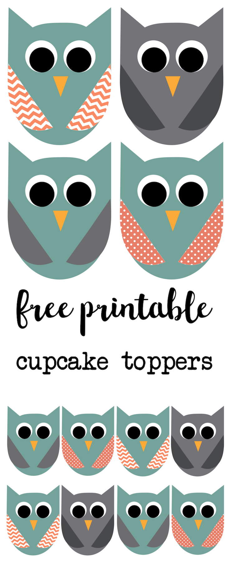 Owl cupcake toppers free printable. Free printable owl cupcake toppers perfect for an owl birthday party or owl baby shower decor.