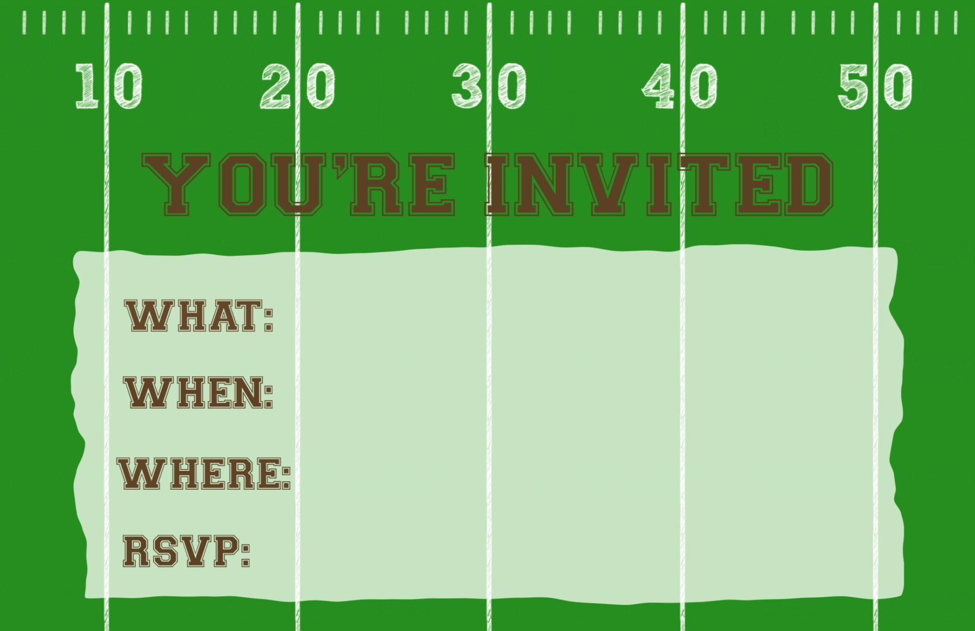 football party invitation template printable paper trail football invitation printable single image