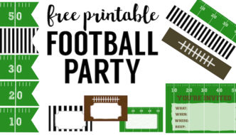 Free Printable Football Decorations {Football Party}. DIY cheap football party decorations for a super bowl party, football team party, birthday party, or baby shower.