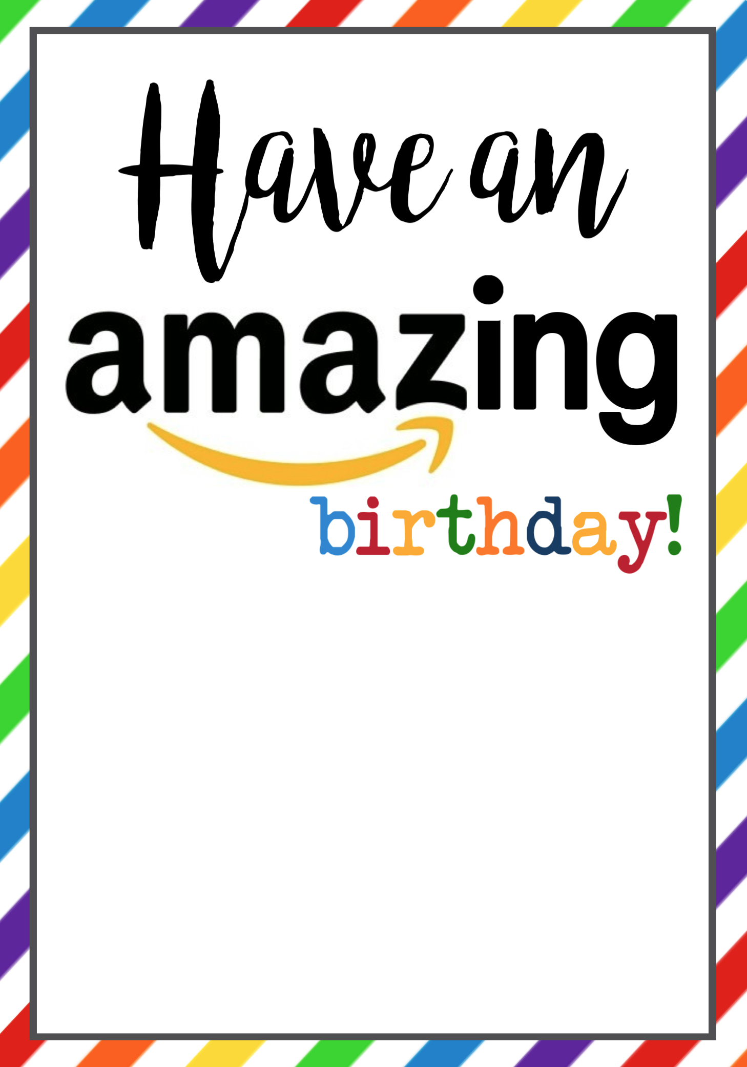 photo relating to Amazon Printable Gift Card titled Amazon Birthday Playing cards No cost Printable - Paper Path Style