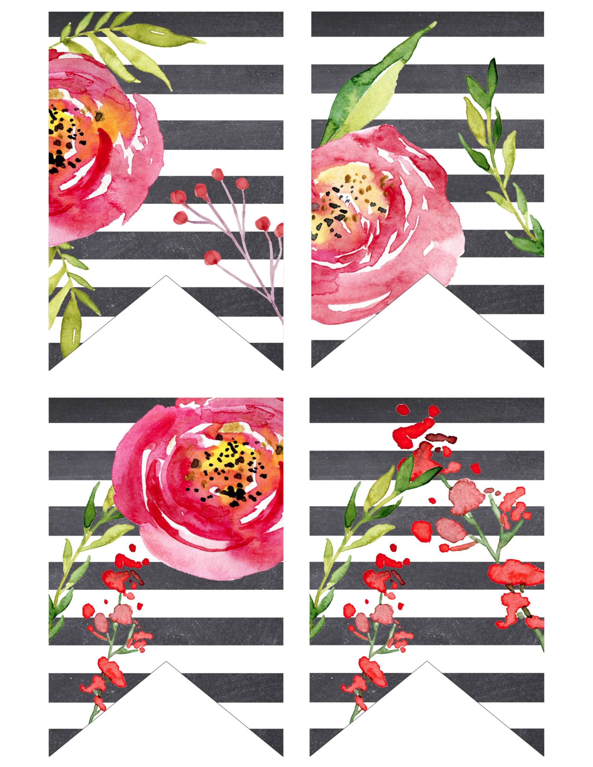 watercolor flower banner free printable paper trail design. Black Bedroom Furniture Sets. Home Design Ideas
