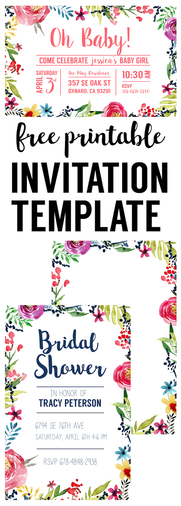 Floral borders invitations free printable invitation for Free printable invitation templates