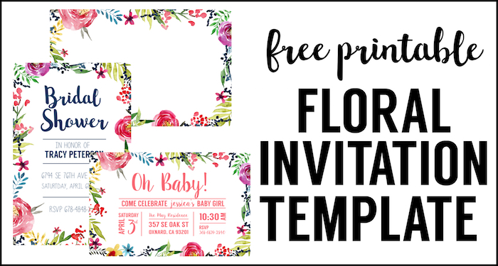 Floral Borders Invitations Free Printable Invitation Templates Paper Trail Design
