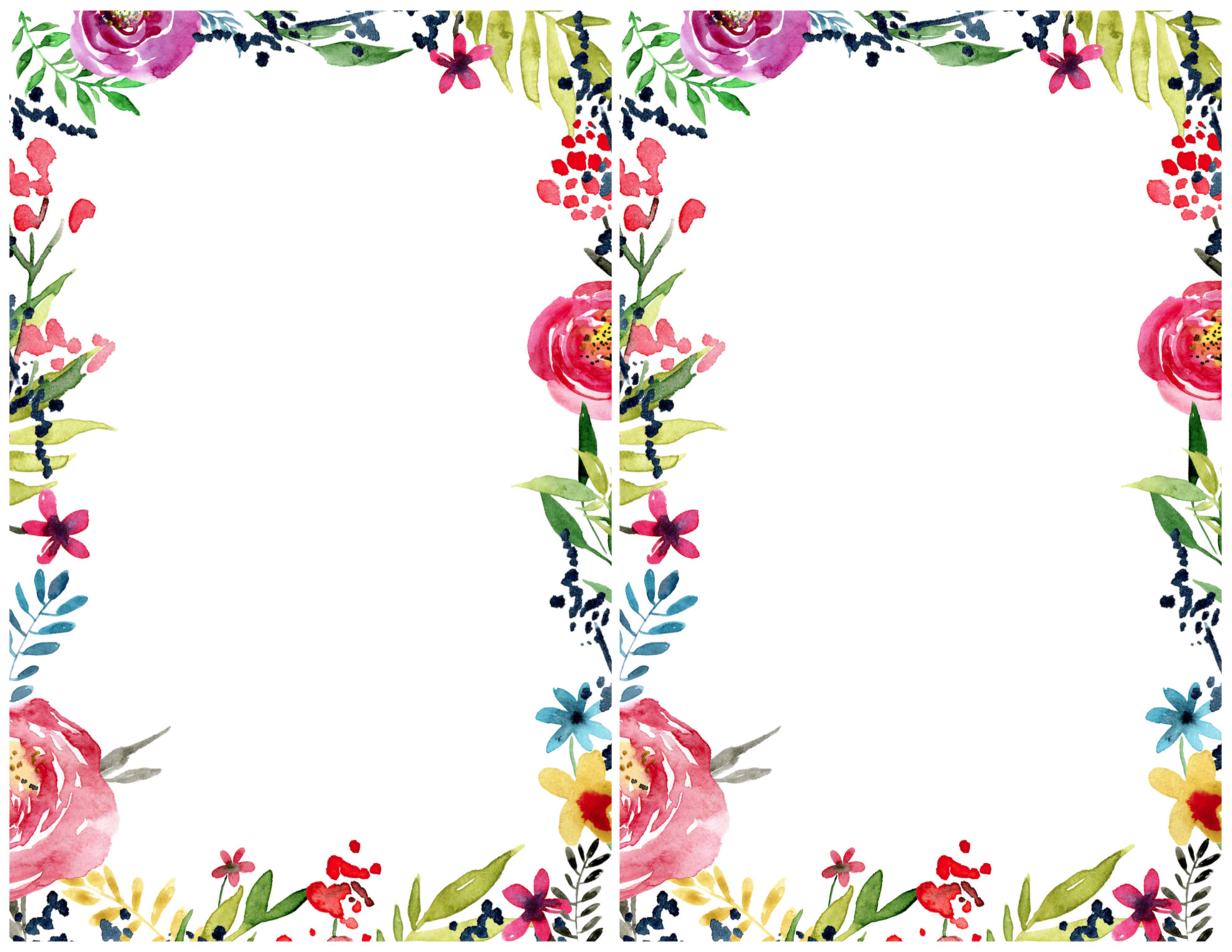 image relating to Printable Border referred to as Floral Borders Invites No cost Printable Invitation