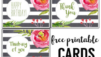 Free Printable Greeting Cards {Thank You, Thinking of You, Birthday}