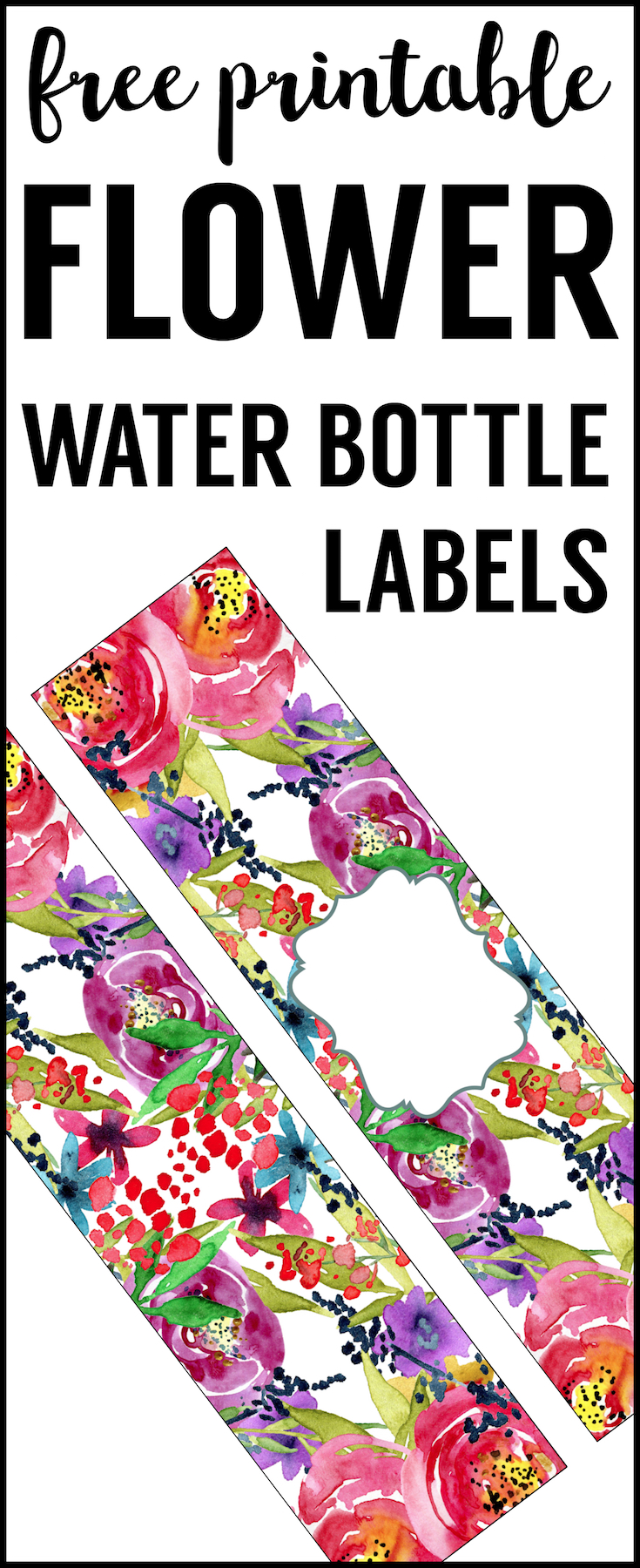 Spring Water Bottle Labels Free Printable DIY. Flower Water Bottle wrappers for a floral baby shower, birthday party, or bridal shower, or wedding.