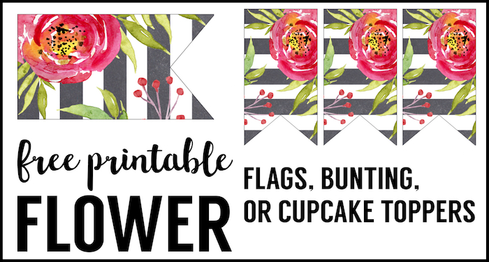 Watercolor Flower Banner Free Printable - Paper Trail Design