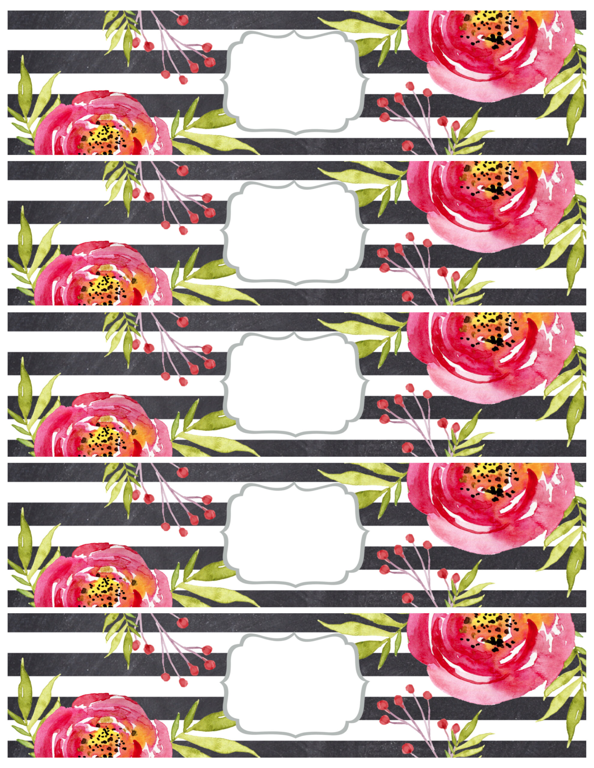 Flower Water Bottle Labels Free Printable Paper Trail Design
