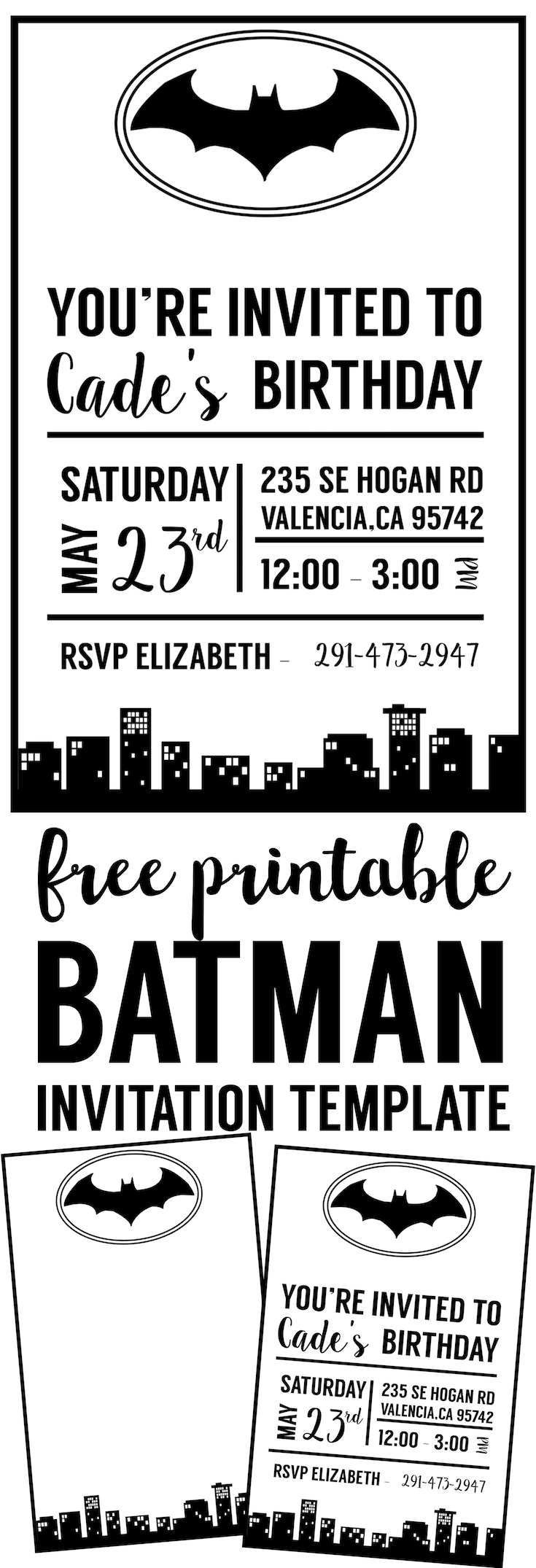 Free Batman Invitation Template printable for a Batman birthday party, Halloween party, or baby shower. Use this batman party invitations printable to DIY your Batman party invitations.