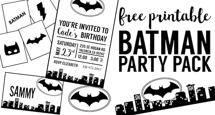 Free Batman Party Printables for a DIY Batman Birthday party, Halloween party, baby shower. Easy cheap Batman party decor. Batman party free printables.