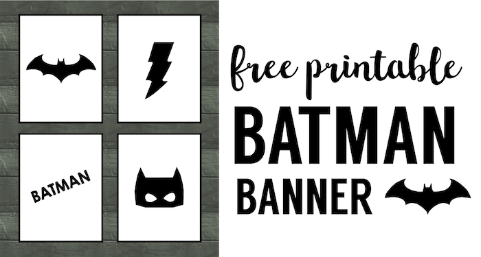 Batman Party Banner Free Printable. Easy decor for a Batman birthday party. Cheap DIY Batman party supplies.