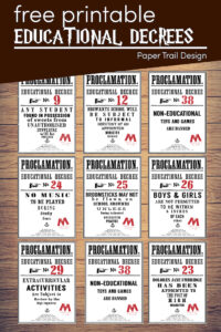 Harry Potter Educational decrees from book 5 Harry Potter and the Order of the Phoenix with text overlay- free printable educational decrees