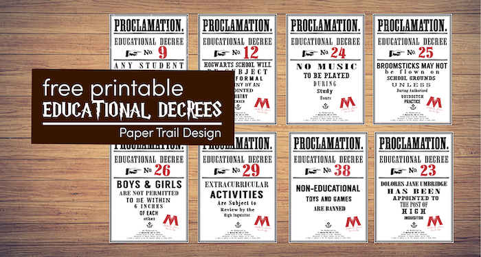 Harry Potter educational decrees fro Harry Potter and the Order of the Phoenix with text overlay- free printable educational decrees