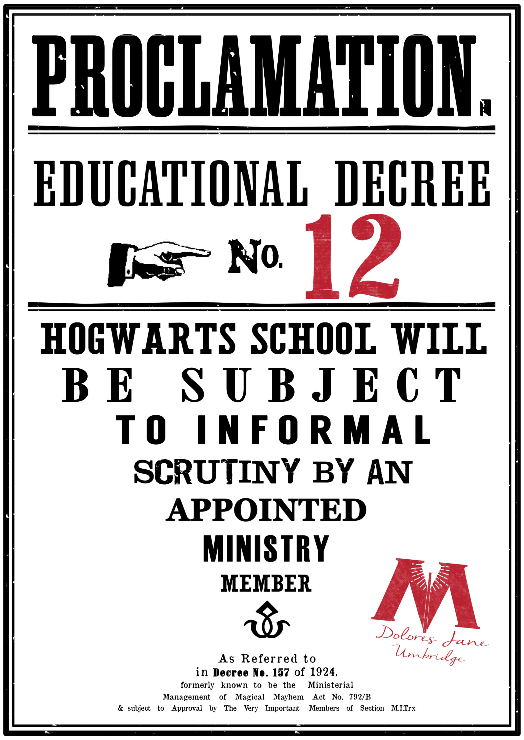Harry Potter Educational Decrees Free Printables Paper Trail Design