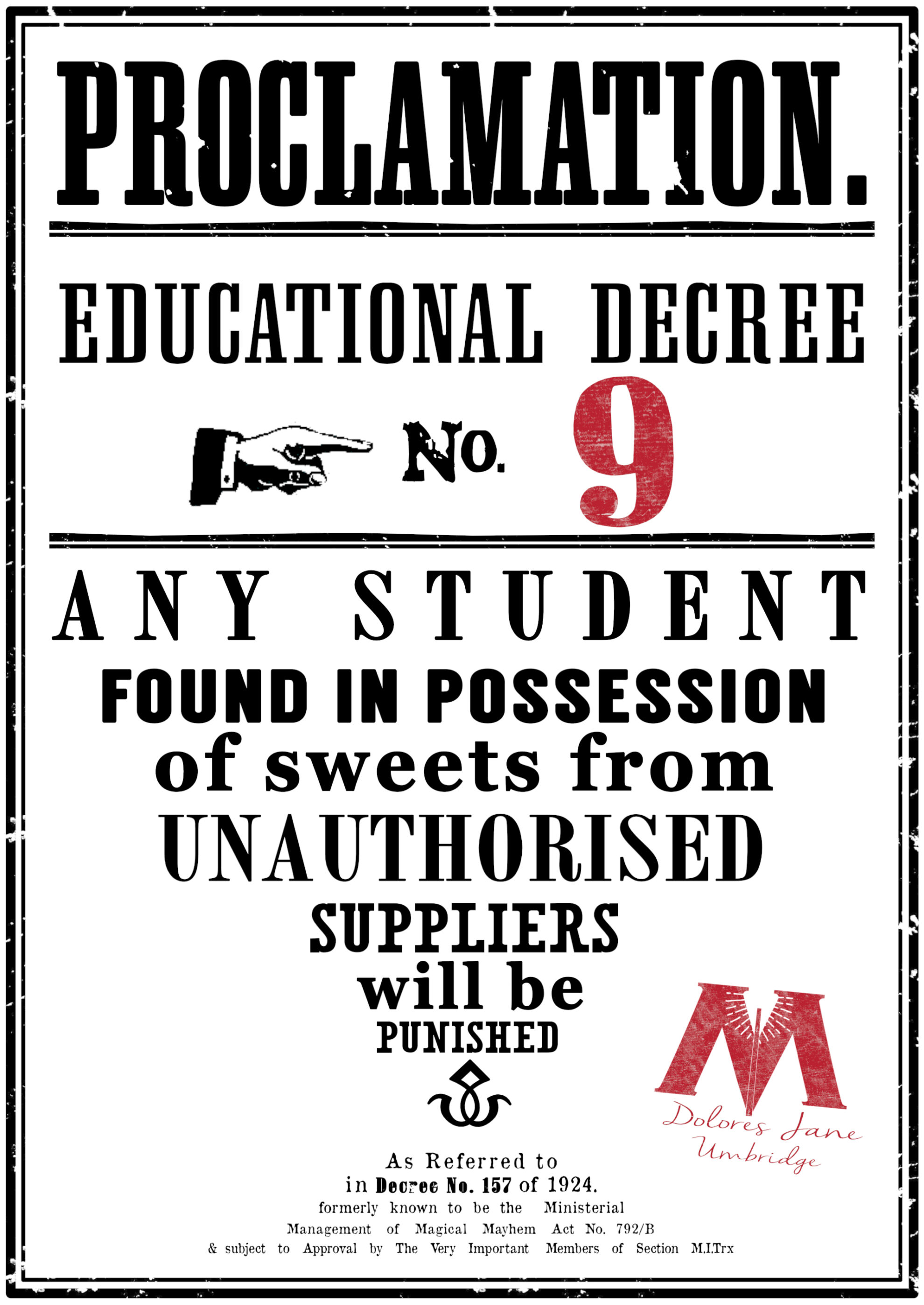 photo relating to Harry Potter Wanted Posters Printable named Harry Potter Enlightening Decrees totally free printables - Paper