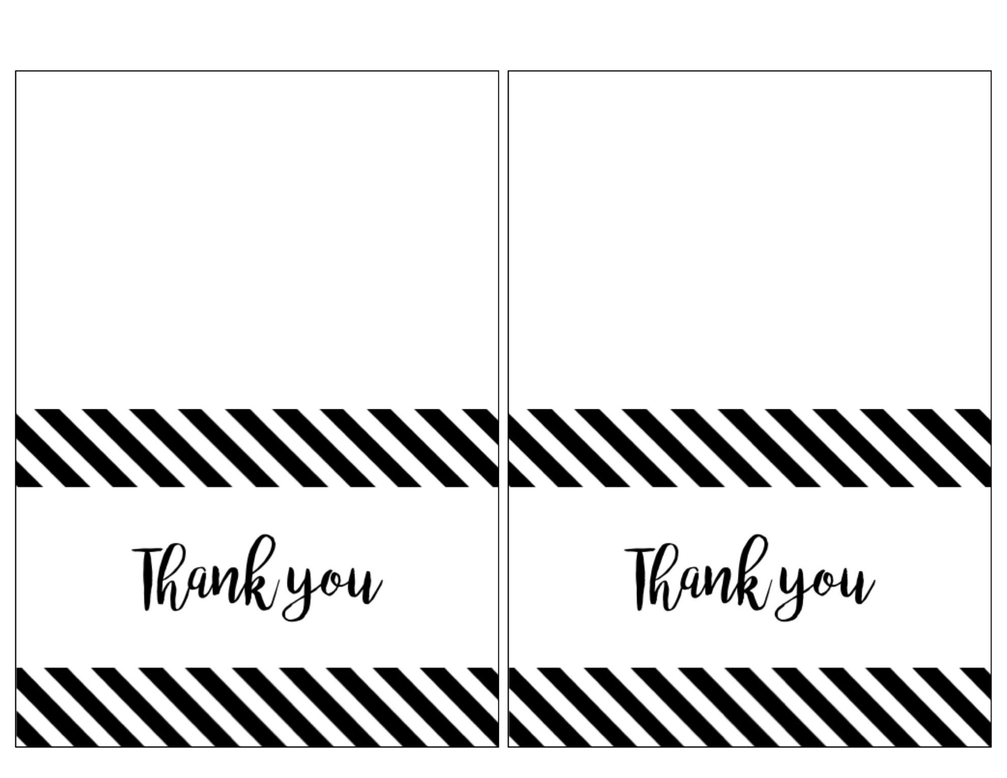 image relating to Printable Thank You Cards titled Free of charge Thank By yourself Playing cards Print Absolutely free Printable Black and White