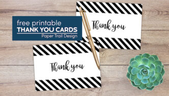 free printable thank you cards with pen and succulent with text overlay- free printable thank you cards