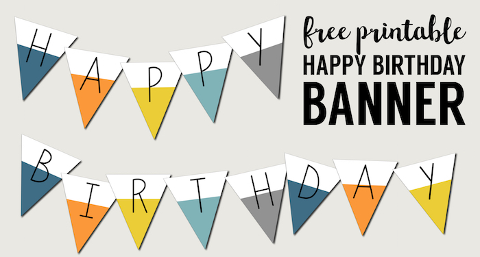 Free Printable Happy Birthday Banner. Dip dye happy birthday banner free printable party decor. Birthday sign print out for birthday party.